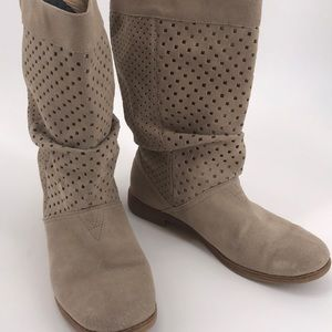 TOMS Tan Suede Slouch Boots Small cut outs S 9.5